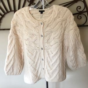 Ann Taylor Cable Knit Sweater w/Rhinestone buttons